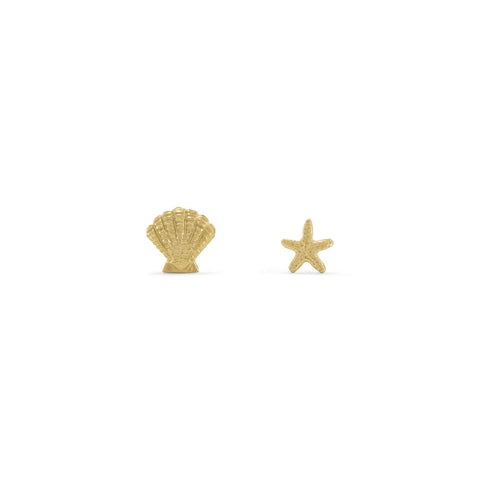 14 Karat Gold Plated Nautical Theme Mismatch Earrings