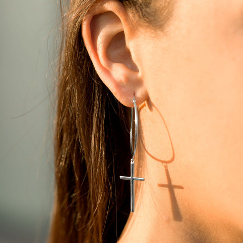 Rhodium Plated Cross Charm Hoop Earrings