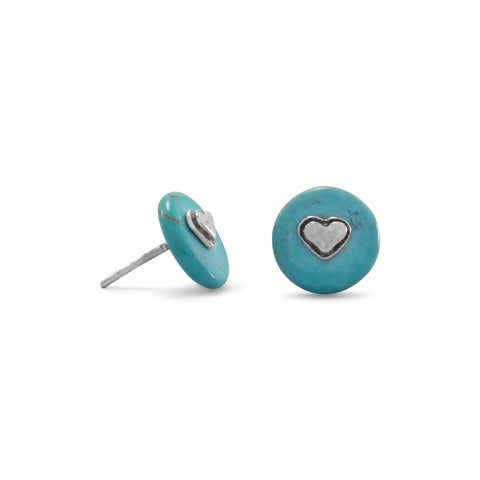 Heart and Turquoise Disk Stud Earrings