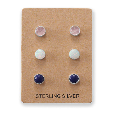 Set of 3 Synthetic White Opal, Lapis, and Rose Quartz Button Studs