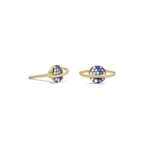 14 Karat Gold Plated Mini CZ Planet Studs