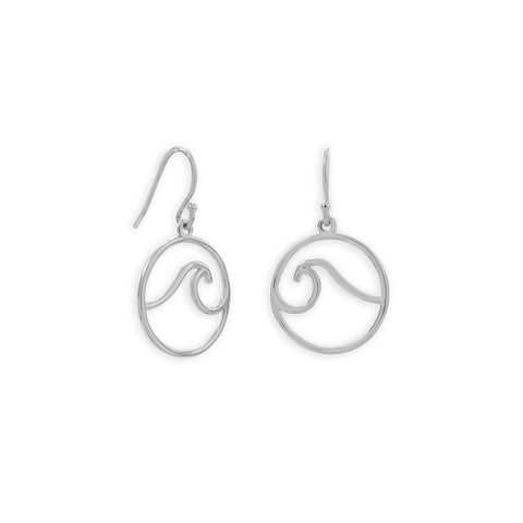 Rhodium Plated Outline Wave French Wire Earrings