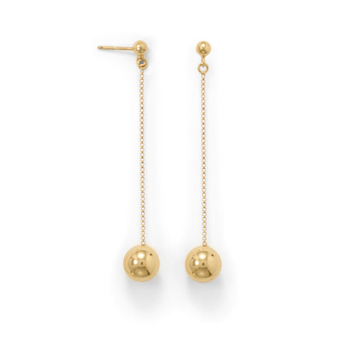 14 Karat Gold Plate Bead Drop Earrings