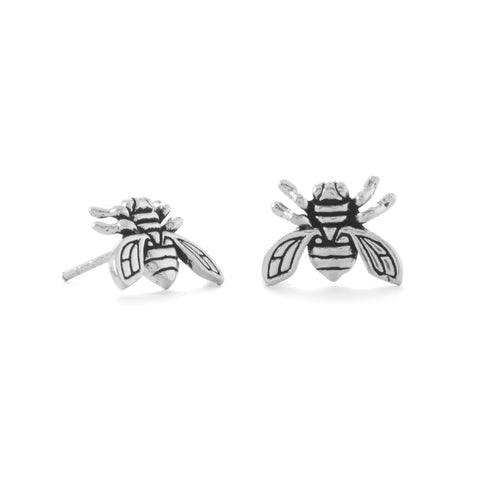 """Be the Buzz!"" Oxidized Buzzing Bee Stud Earrings"