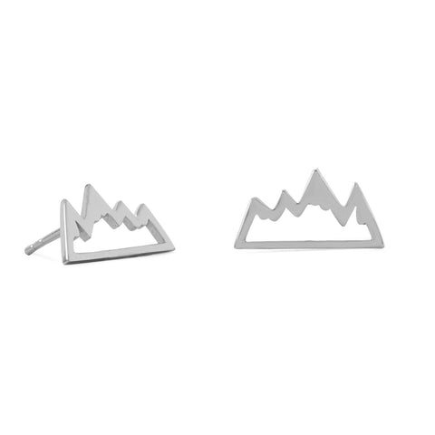 Rhodium Plated Mountain Range Earrings