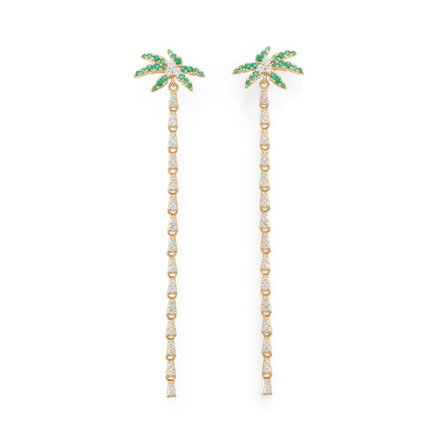 Coconut Palm Tree Gold Plated Earrings