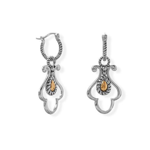 14 Karat Gold and Rhodium Plated Silver Earrings