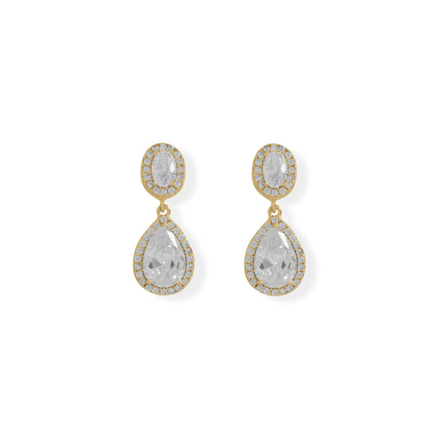 14 Karat Gold Plated Oval and Pear CZ Drop Earrings