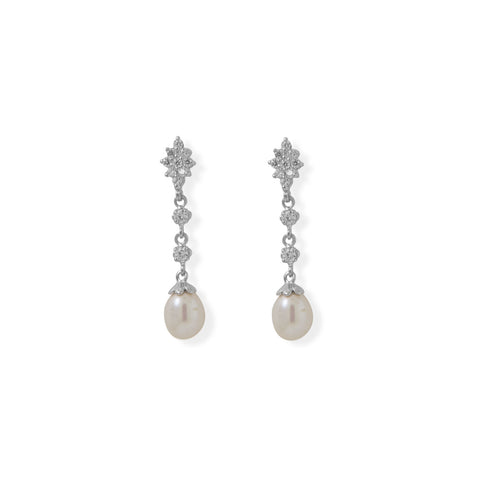CZ and Cultured Freshwater Pearl Drop Earrings