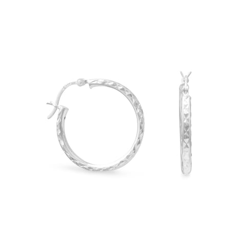 2.5mm x 25mm Diamond Cut Hoop Earrings