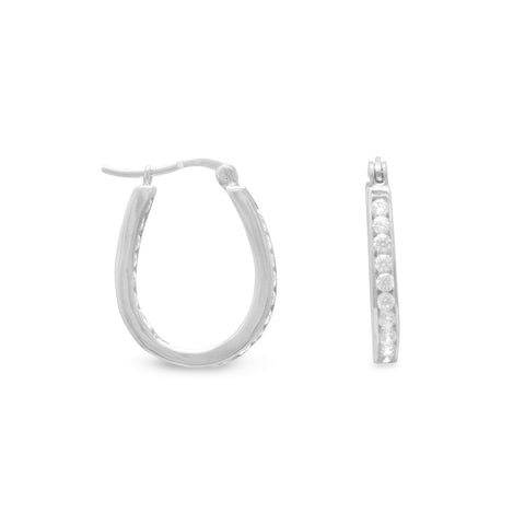 Rhodium Plated Pear Shape In/Out CZ Earrings