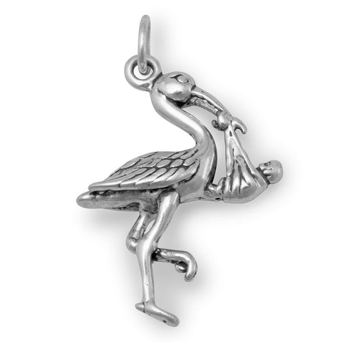 Stork with Baby Charm