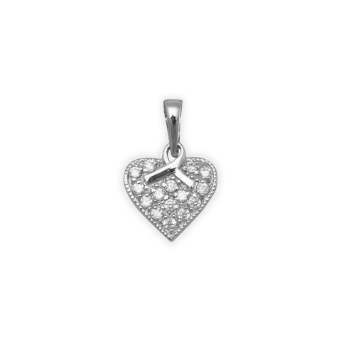 Rhodium Plated CZ Heart/Ribbon Pendant