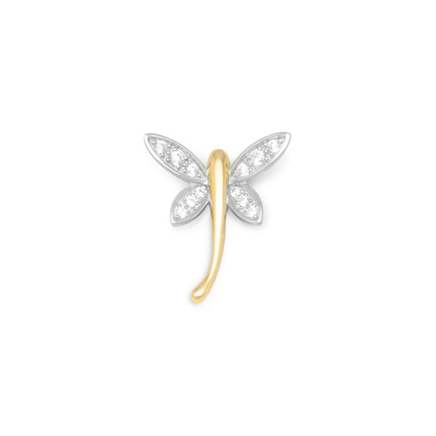 Rhodium Plated Silver/14K Gold Plated CZ Dragonfly Slide