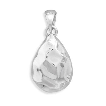 Pear Shape Hammered Pendant