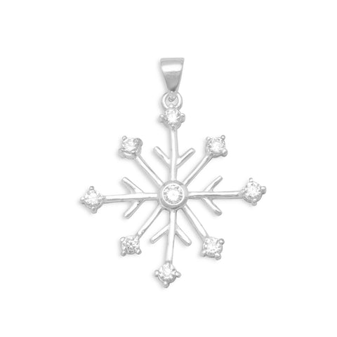 Rhodium Plated 8 Point Snowflake/9 CZ Pendant