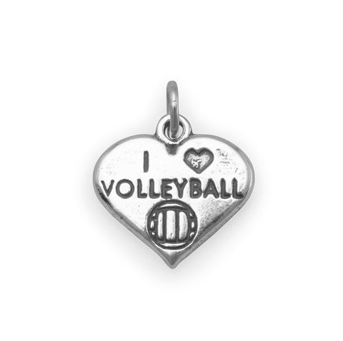 I Love Volleyball Charm