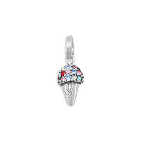 Multicolor Crystal Ice Cream Cone Charm