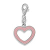 Pink Enamel Heart Charm with Lobster Clasp