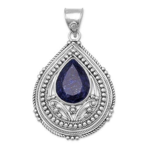 Faceted Rough-Cut Sapphire Oxidized Pendant