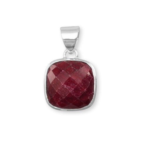 Square Faceted Rough-Cut Ruby Pendant