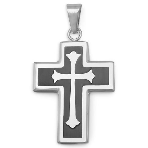 Stainless Steel and Black Resin Inlay Cross Pendant