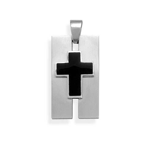 Stainless Steel Pendant with Black Cross