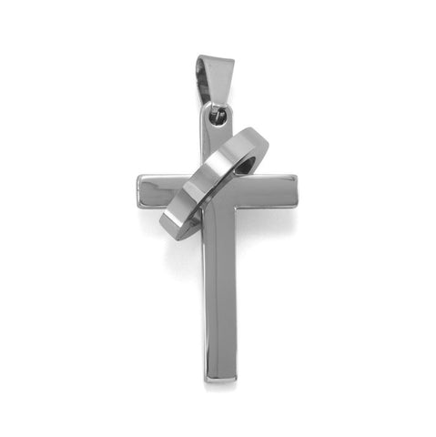 Stainless Steel Cross Pendant with Ring