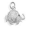Rhodium Plated CZ Elephant Pendant