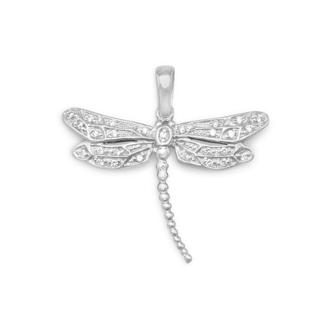 Rhodium Plated CZ Dragonfly Pendant