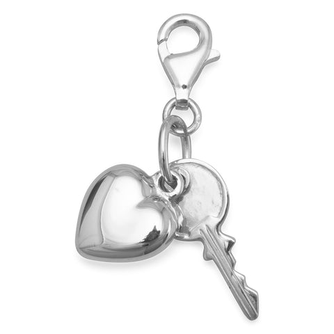 Heart and Key Charm with Lobster Clasp