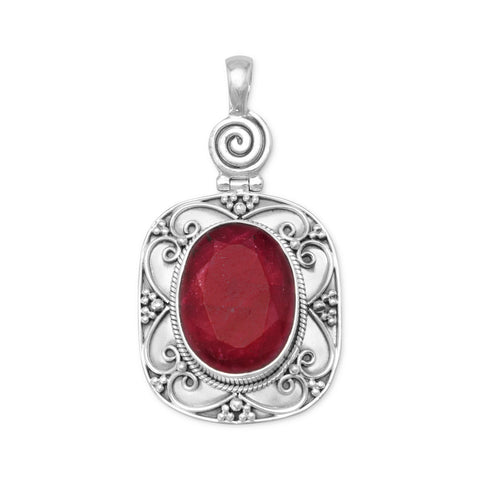 Oxidized Oval Rough-Cut Ruby Pendant
