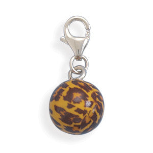 Orange and Brown Enamel Bead Charm