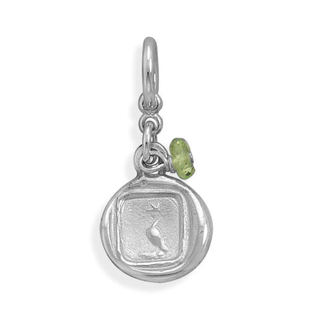Dove Charm with Peridot Bead