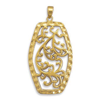 14 Karat Gold Plated Filigree Pendant