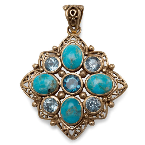 Bronze Pendant with Blue Topaz and Reconstituted Turquoise