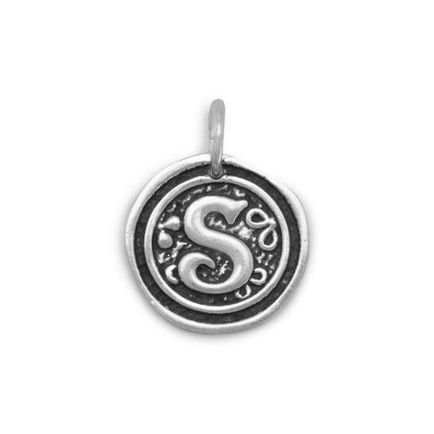 "Oxidized Initial ""S"" Pendant"