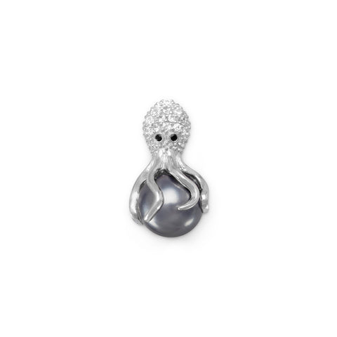 Rhodium Plated CZ and Simulated Pearl Octopus Slide