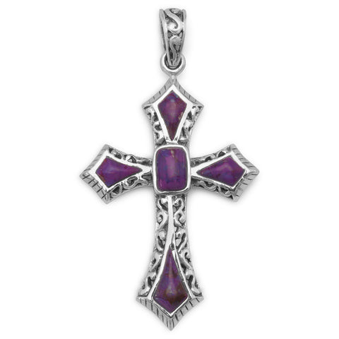 Reconstituted  Dyed Purple Turquoise Cross Pendant