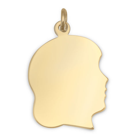 14/20 Gold Filled Engravable Girl's Silhouette Pendant