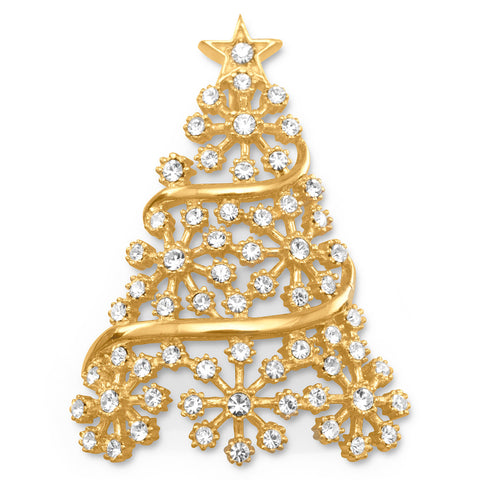 14 Karat Gold Plated Crystal Christmas Tree Slide