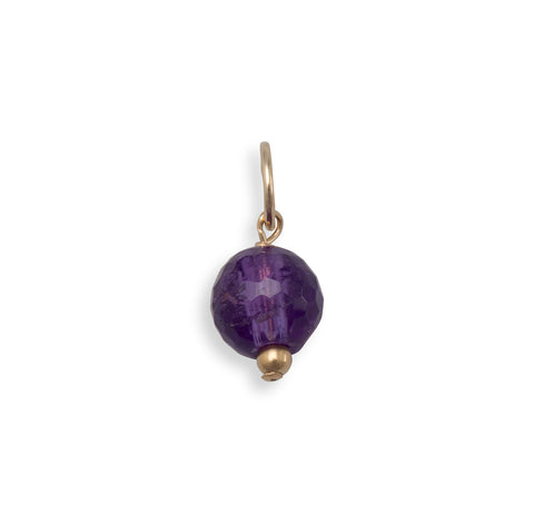 14/20 Gold Filled Faceted Amethyst Bead Charm - February Birthstone