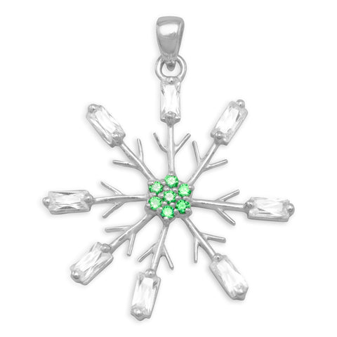 Rhodium Plated Snowflake Pendant with Clear and Green CZ