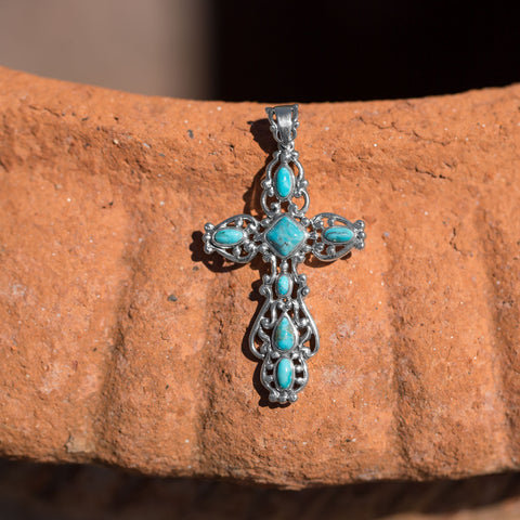 Ornate Oxidized Reconstituted Turquoise Cross Pendant