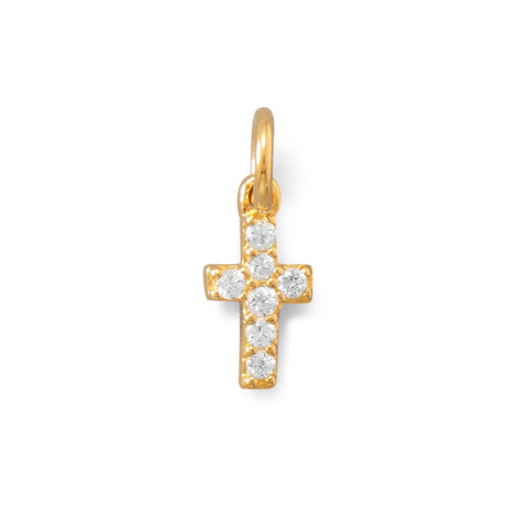 14K Gold Plated CZ Cross Charm