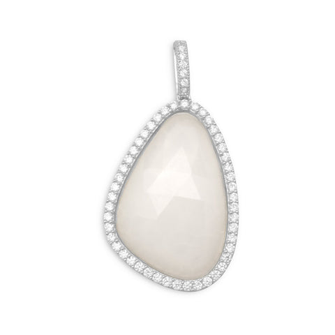 Rhodium Plated White Jade Pendant with CZ Edge