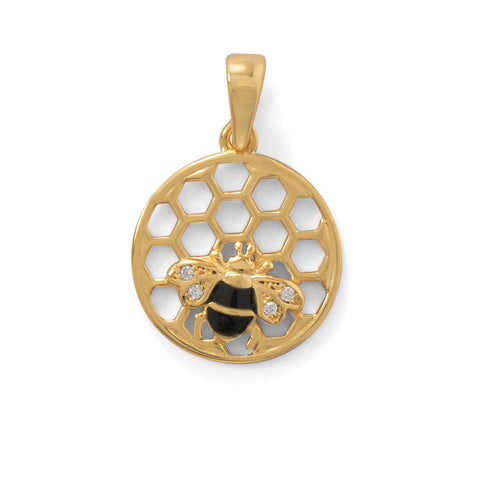 """BEE Mine!"" 14 Karat Gold Plated Honeycomb with Bee Pendant"