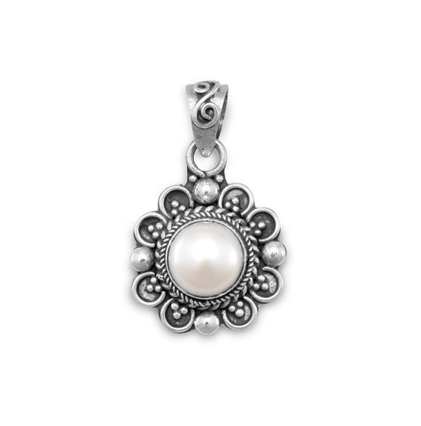 6mm Cultured Freshwater Pearl on Diamond Shape Pendant
