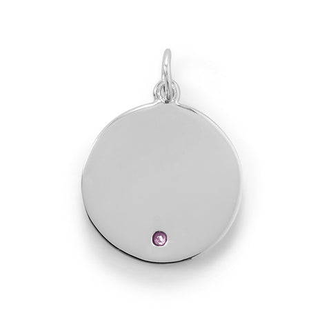 Engravable Rhodium Plated CZ Pendant - October Birthstone