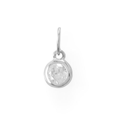 Round CZ April Birthstone Charm